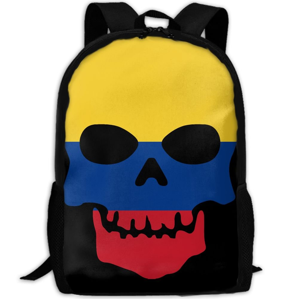 OIlXKV Skull Skeleton Colombia Flags Of Countries Print Custom Casual School Bag Backpack Multipurpose Travel Daypack For Adult