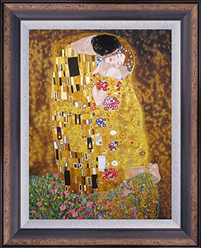 King Silk Art 100% Handmade Embroidery Large Framed The Kiss-Klimt ...