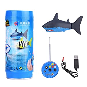 Mini RC Shark, Remote Control Electric Fish Boat Toy Remote-Controlled Water Kid Toys with USB Cable