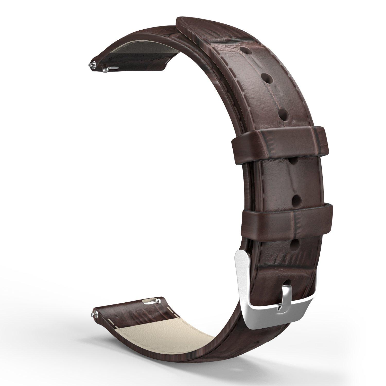 MoKo 22mm Cinturino Universale, Braccialetto di Ricambio in Pelle in Motivo Coccodrillo, per Smart Watch di Larghezza 22mm, es. Samsung Gear S3 Classic / S3 Frontier, Moto 360 2nd Gen 46mm, Marrone