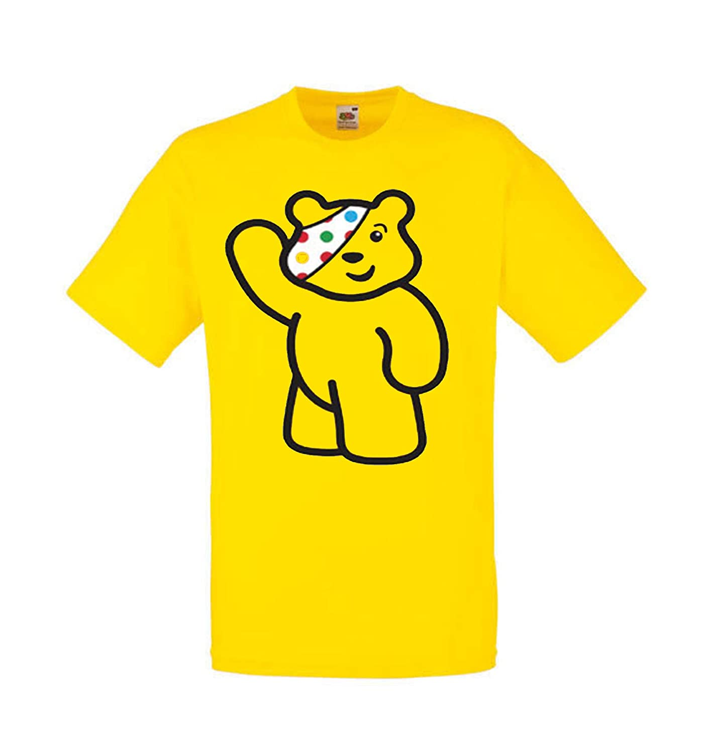 Children in Need T Shirt Pudsey Bear Arm up Yellow Boys Girls