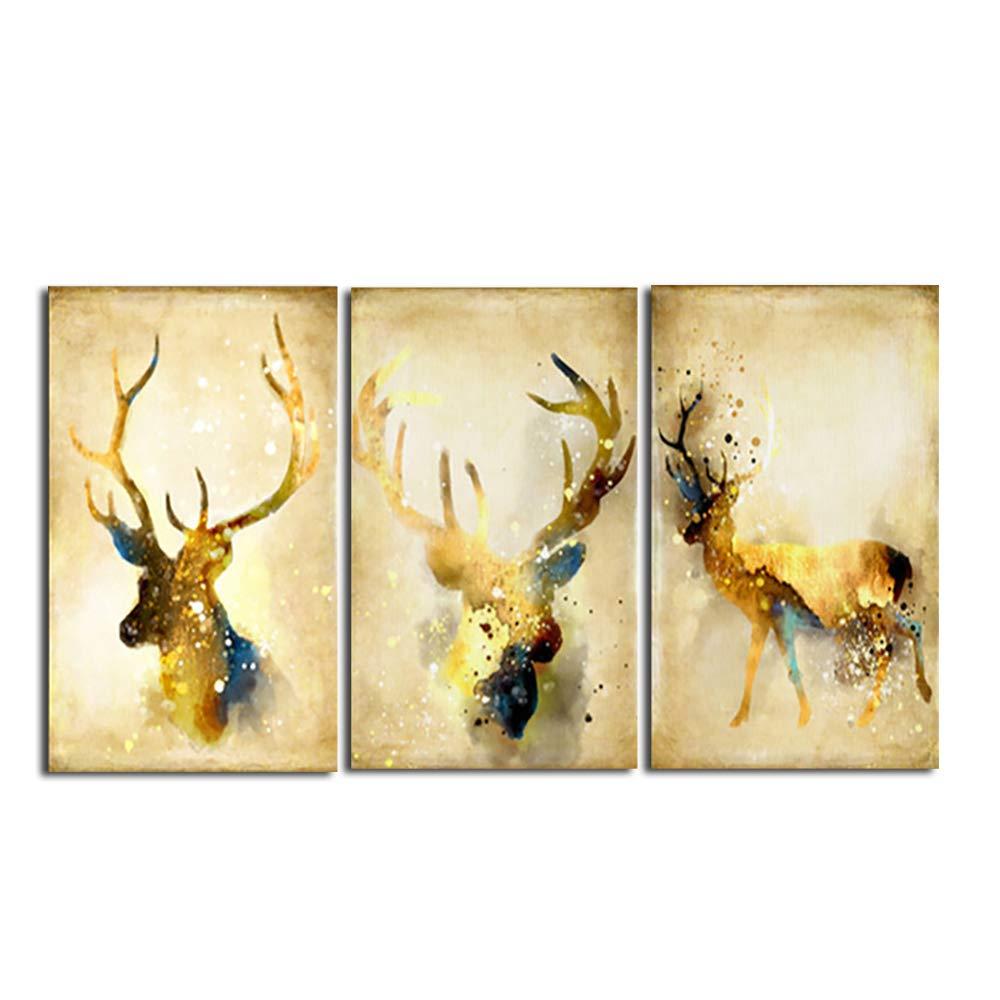 La Vie 3 Panel Wall Art Golden Deers Stag with Long Antler Poster ...