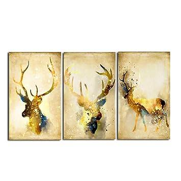 La Vie 3 Teilig Wandbild Kein Rahmen Leinwanddrucke Abstract Fallen Hirsch Dekoration  Bilder Gemälde Moderne Kunstdruck