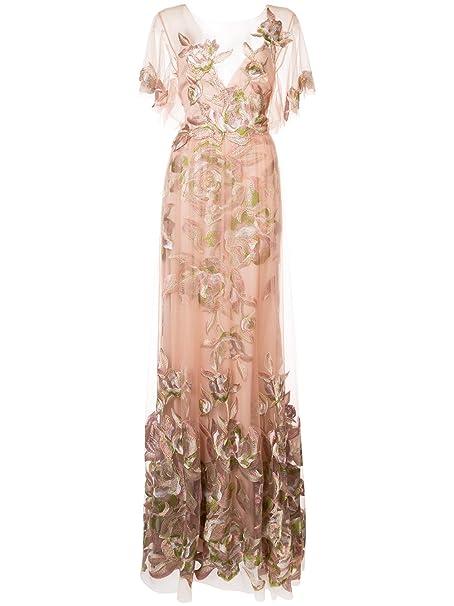 3d12d41c Marchesa Notte Women's Short Sleeve Floral Tulle Evening Gown 4 Blush