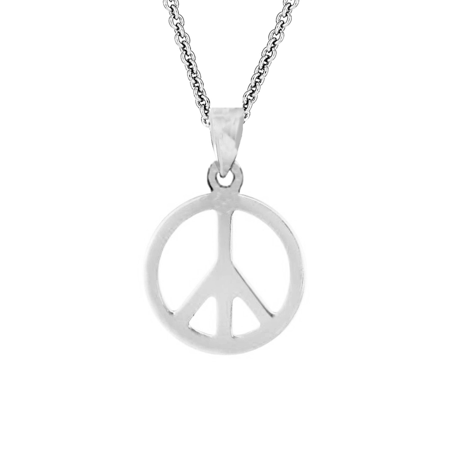 Amazon sterling silver shiny peace sign charm pendant necklace amazon sterling silver shiny peace sign charm pendant necklace 18 inches jewelry buycottarizona Gallery