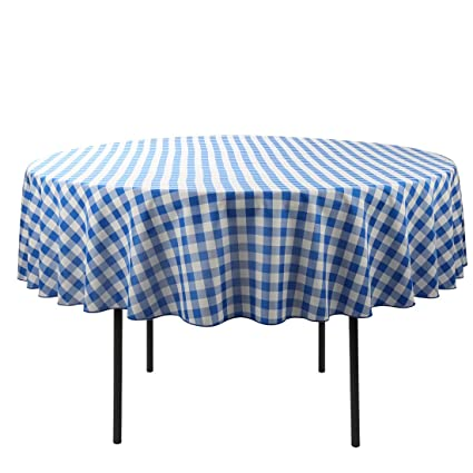 70 Inch Round Table Cloth.E Tex 70 Inch Round Tablecloth 100 Polyester Washable Table Cloth For Circular Table Bue And White Checker