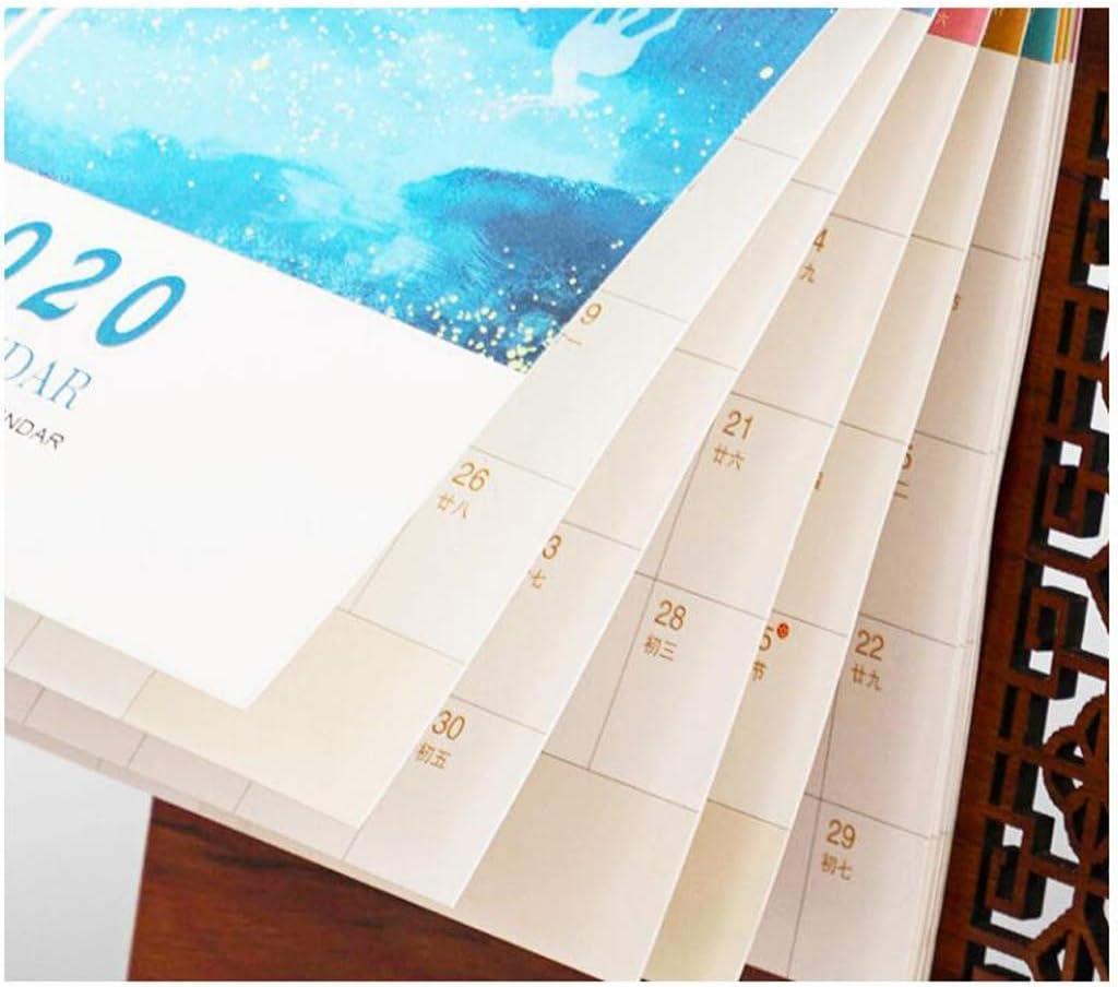 Desk Calendar 2020 Simple Business Plan Wooden Frame with Pen Holder Decoration Desk Work Notepad Small Desk Calendar Color : A