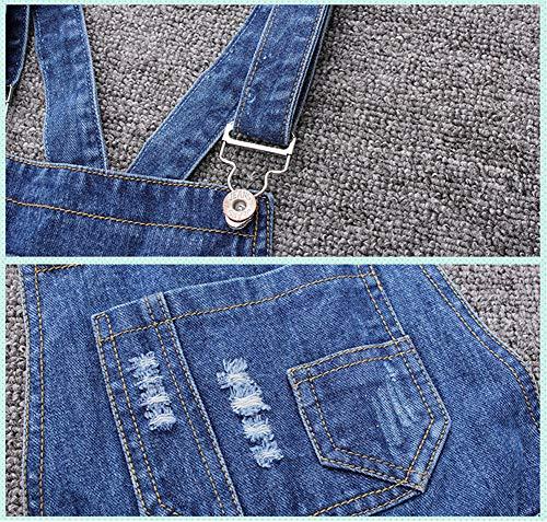 LAVIQK Girls Little Big Kids Denim Bib Overalls Jumpsuit Boyfriend Jeans Denim Romper Shortalls Blue