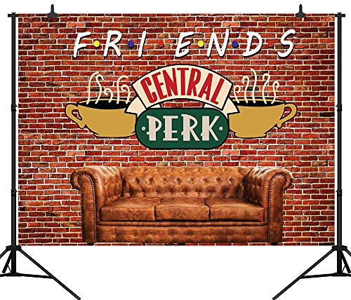 CapiSco 5X3FT Red Brick Wall Backdrop Central Perk Friends Theme Party Backdrop Sofa Coffee Shop Photography Background for Mens Womens Adult Birthday Party Portraits Photo Studio Backdrop SCO145A