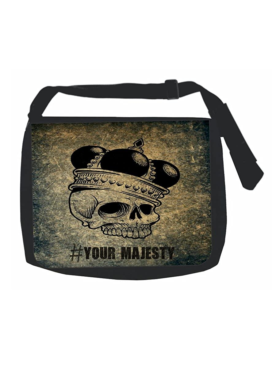 Multi-Purpose Hashtag Your Majesty Girls Grunge Skeleton in a Crown Black Laptop Shoulder Messenger Bag and Small Wire Accessories Case Set