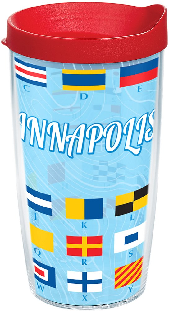 Tervis 1167406 Nautical Anchors Tumbler with Wrap and Brown Lid 16oz Clear