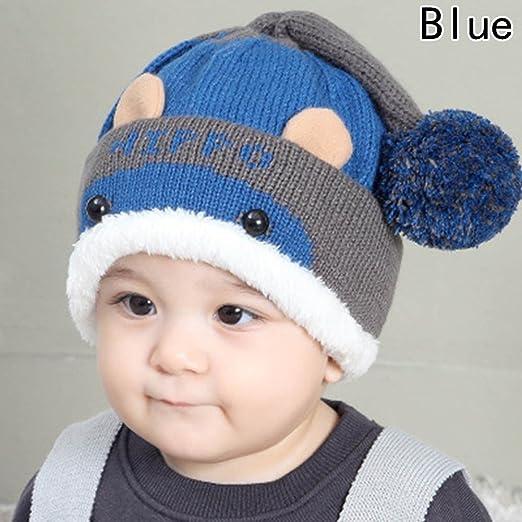 704d8ee44 Amazon.com  RoyLink Infant Toddler Baby Winter Hat Warm Woolen Knit ...