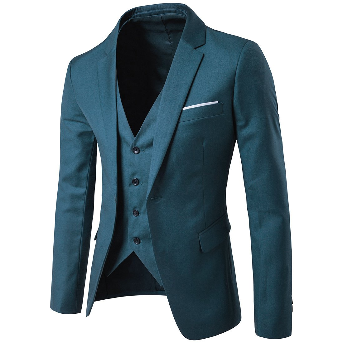 MAGE MALE Men\'s 3 Pieces Suit Elegant Solid One Button Slim Fit ...