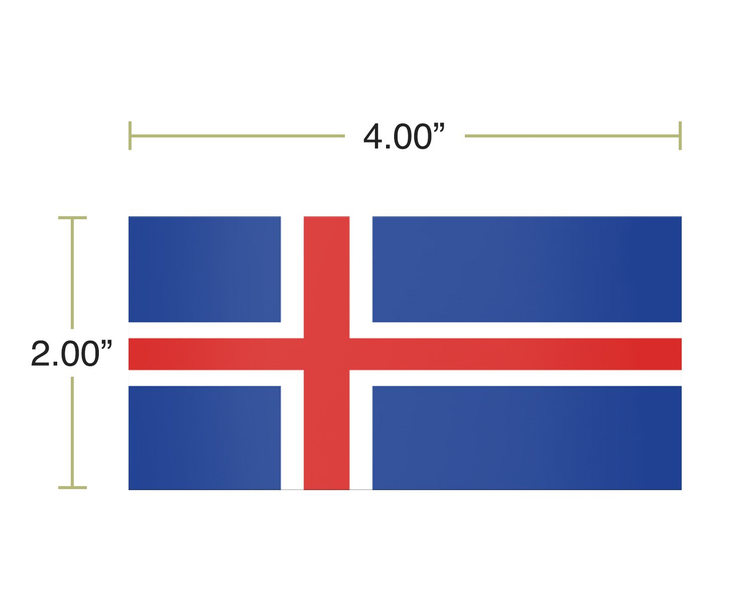 Iceland 4 Pack of 4 Inch Wide Country Flag Stickers Decal for Window Laptop Computer Vinyl Car Bumper Icelandic