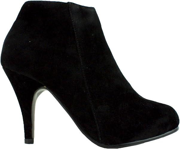 Womens Ladies Black Faux Suede MID Heel