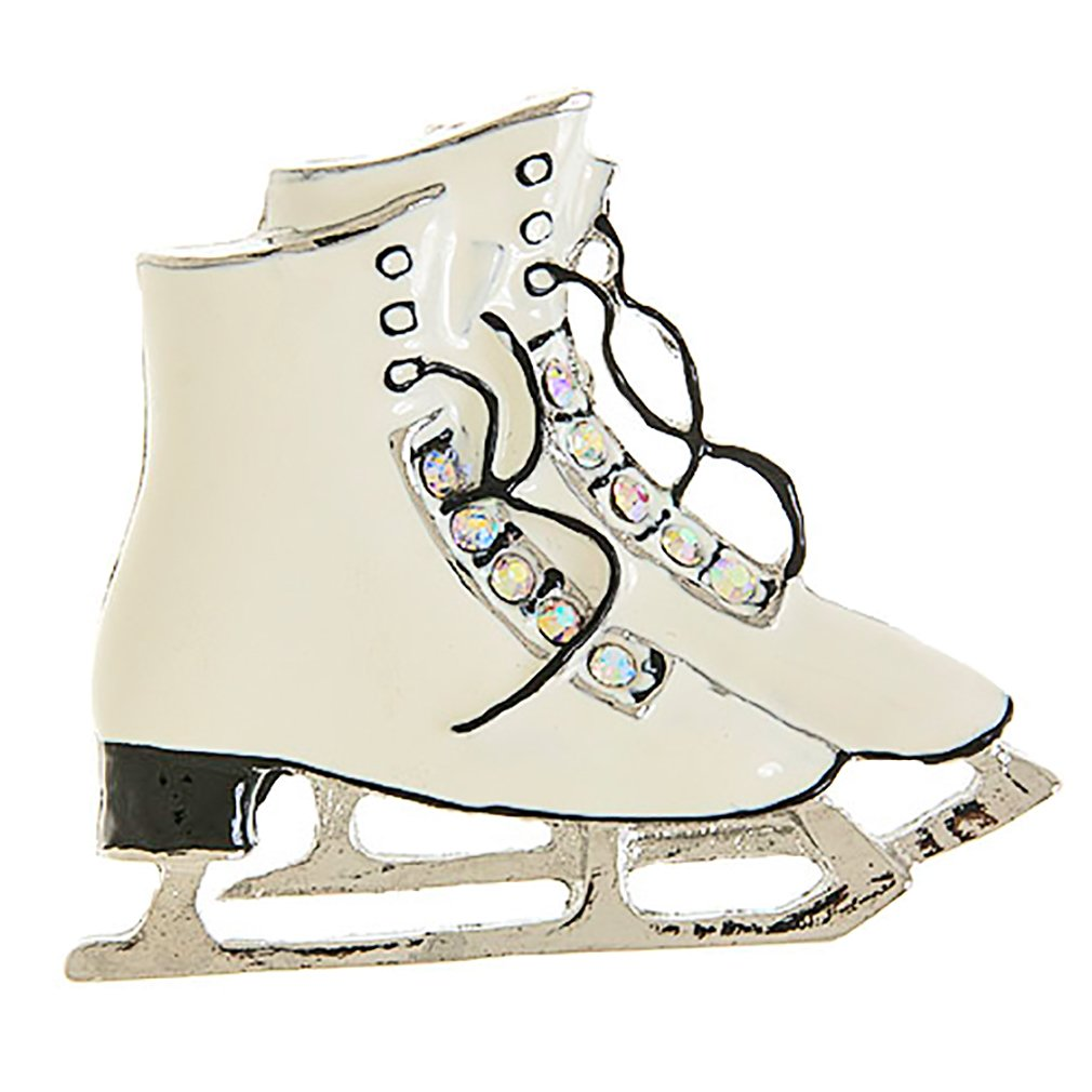 ACCESSORIESFOREVER Christmas Jewelry Crystal Rhinestone Ice Skating Shoes Brooch Pin BH208 White