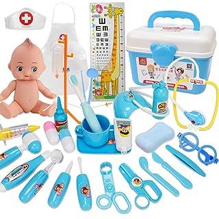 ZMH Durevole Kit da Dottore per Bambini con Stetoscopio Elettronico 31 Pezzi Pretend Dentista Kit Medico Simulazione Cosplay Contenitore di Medicina Rosa Blu