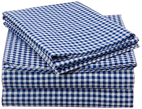 (Mi-Zone Gingham Full Bed Sheets, Casual 100% Cotton Bed Sheet, Navy Bed Sheet Set 4-Piece Include Flat Sheet, Fitted Sheet & 2 Pillowcases)