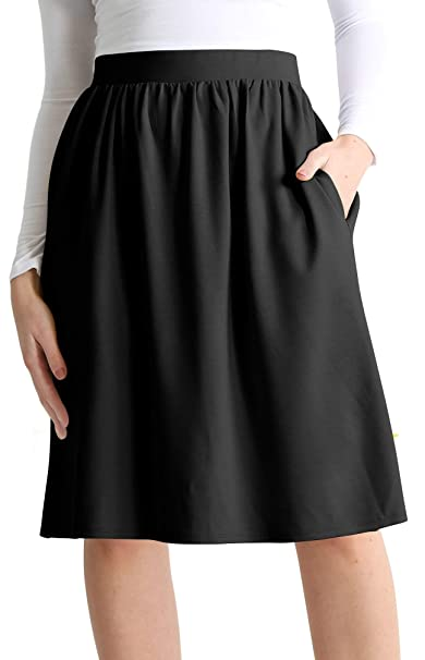 Simlu Womens Knee Length Flare A Line Skirt With Side Pockets Regular And Plus Size Made In Usa