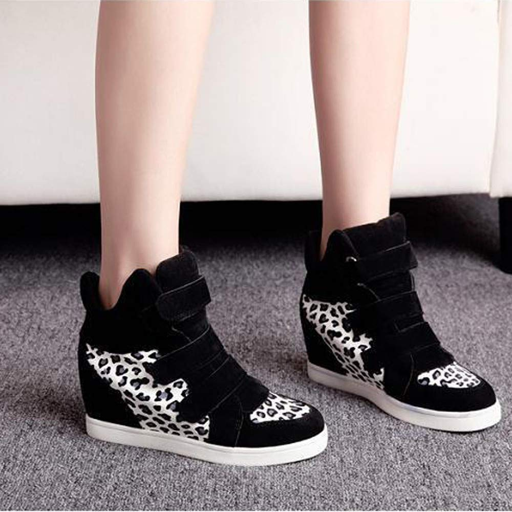 Women Shoes Autumn Winter Hidden Heel Flock Wedge Sports Walking Shoes Woman Style With High Heels 6.5cm Big Size 35~40 Long Performance Life Sports & Entertainment Walking Shoes