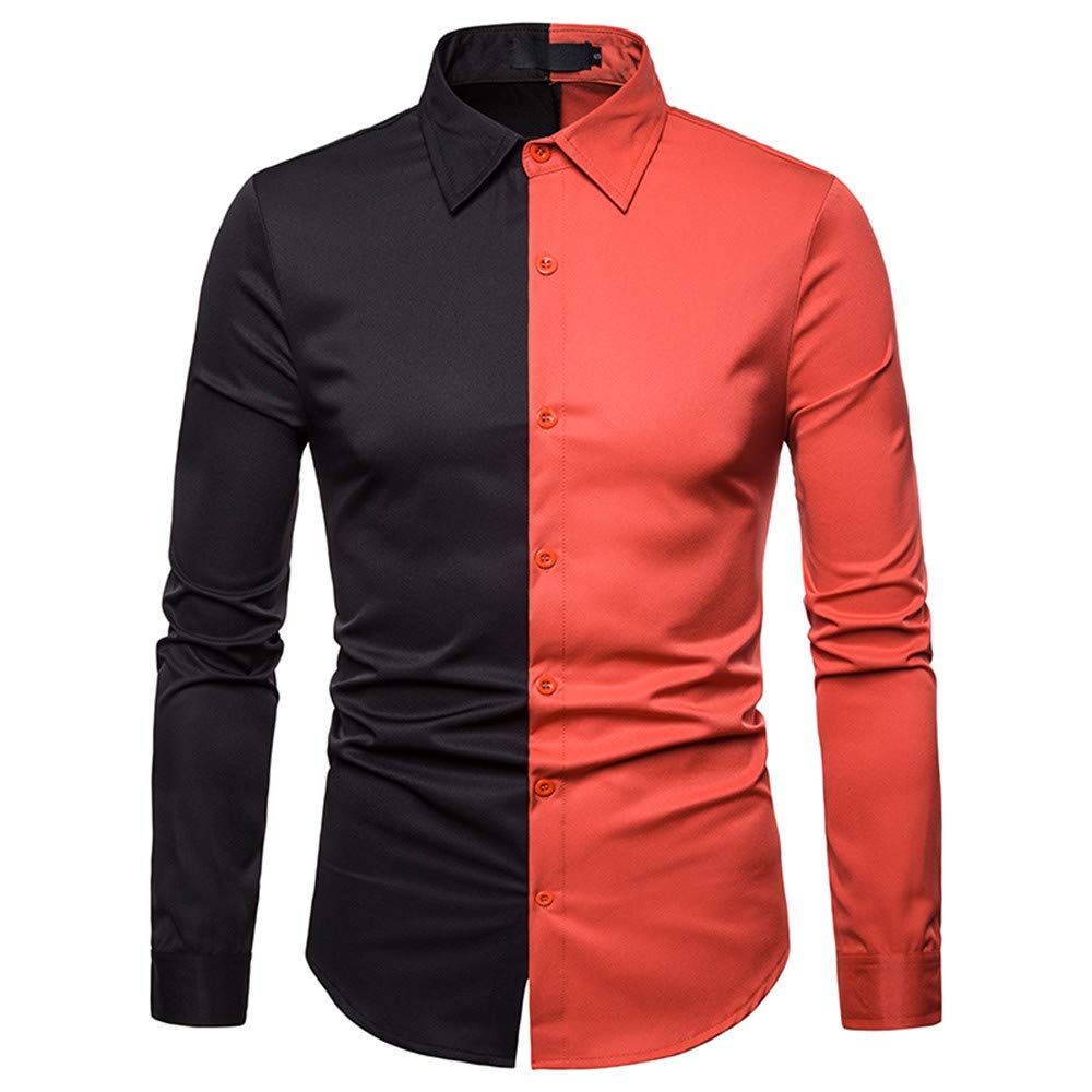GREFER Men's T Shirt Spring Fashion Casual Color Patch Slim Fit Long Sleeve Top Blouse Orange by GREFER