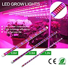 [Pack of 5] Derlights® 60W LED Grow Light Tube,368pcs Red/152pcs Blue/40pcsWarm White/40pcs White ,T8 1.2m Plant Led Grow Strip for Garden, Hydroponic, and Greenhouse (60w 1.2m)