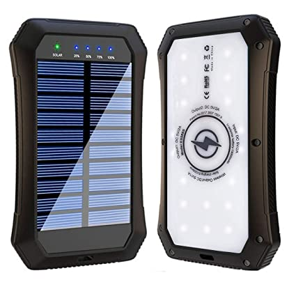 Solar Power Bank, Wireless 15000mAh Portable Charger External Battery Pack Qi Solar Phone Charger with 20 LED Flashlights and 2 USB Outputs Compatible ...