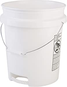 Hudson Exchange 5 Gallon Bucket with Bottom Grip Handle, HDPE, White