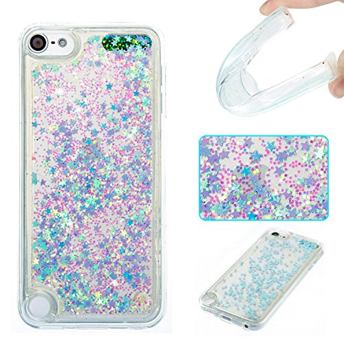 iPod Touch 6 Case,iPod Touch 5 Case,DAMONDY 3D Cute Bling Liquid Glitter Floating Quicksand Diamond Water Flowing Ultra Clear Soft TPU Case for Apple iPod touch 5 6th ONLY -sliver (Much Ipod Touch)