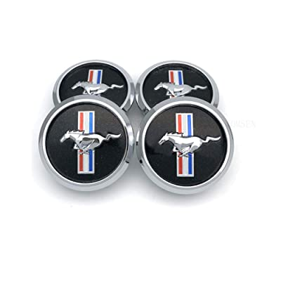 TOMSEN Car Emblem Badge Wheel Hub Caps Centre Cover Black for for 4pcs Mustang Cobra Jet Shelby: Automotive