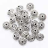 ILOVEDIY 100PCS Silver/Gold Plated Spacer Beads Findings for Jewelry Necklace and Bracelet Making 6mm (Antique Silver)