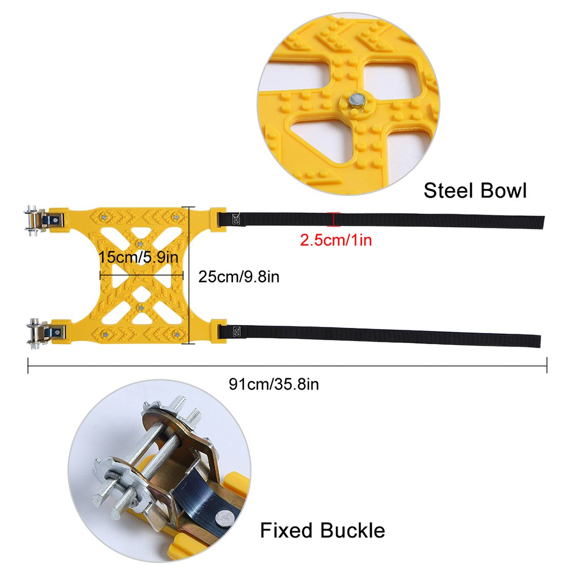 FairyMe Tire Chains, 6PC snow Chains for carsTire Anti-skid Chains with Snow Shovel and Gloves