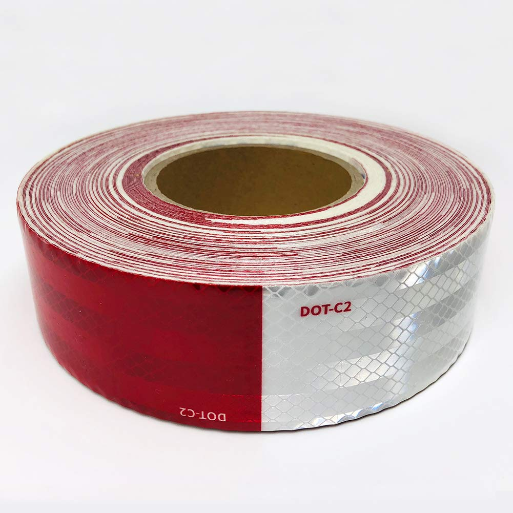 Dot-C2 Red//White Reflective Safety Tape,Conspicuity Tape,2 Inch x 75 Ft for Vehicles,Trailers,Boats,Signs