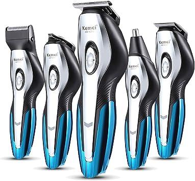 D-SYANA8 Kemei KM-5031 afeitadora eléctrica para hombres 6 en 1 recortador de pelo nariz barba maquinilla de afeitar herramienta de estilo impermeable de carga rápida: Amazon.es: Salud y cuidado personal