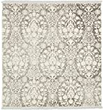 Unique Loom New Classical Collection Traditional Distressed Vintage Classic Light Gray Square Rug (4' x 4')