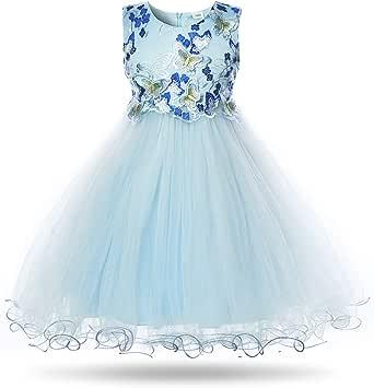 CIELARKO Girls Dress Flower Kids Butterfly Wedding Party Dresses for 2-11 Years