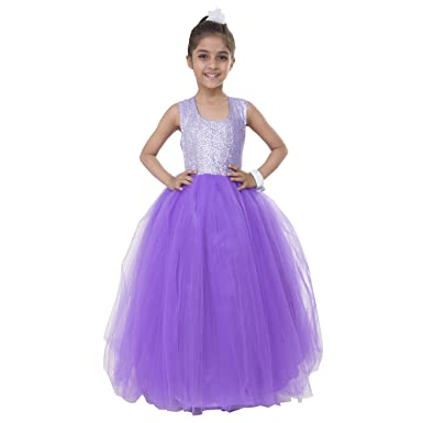 Samsara Couture Birthday Party Wear Dress For Girls Sequence And Net Lavender Gown Kids