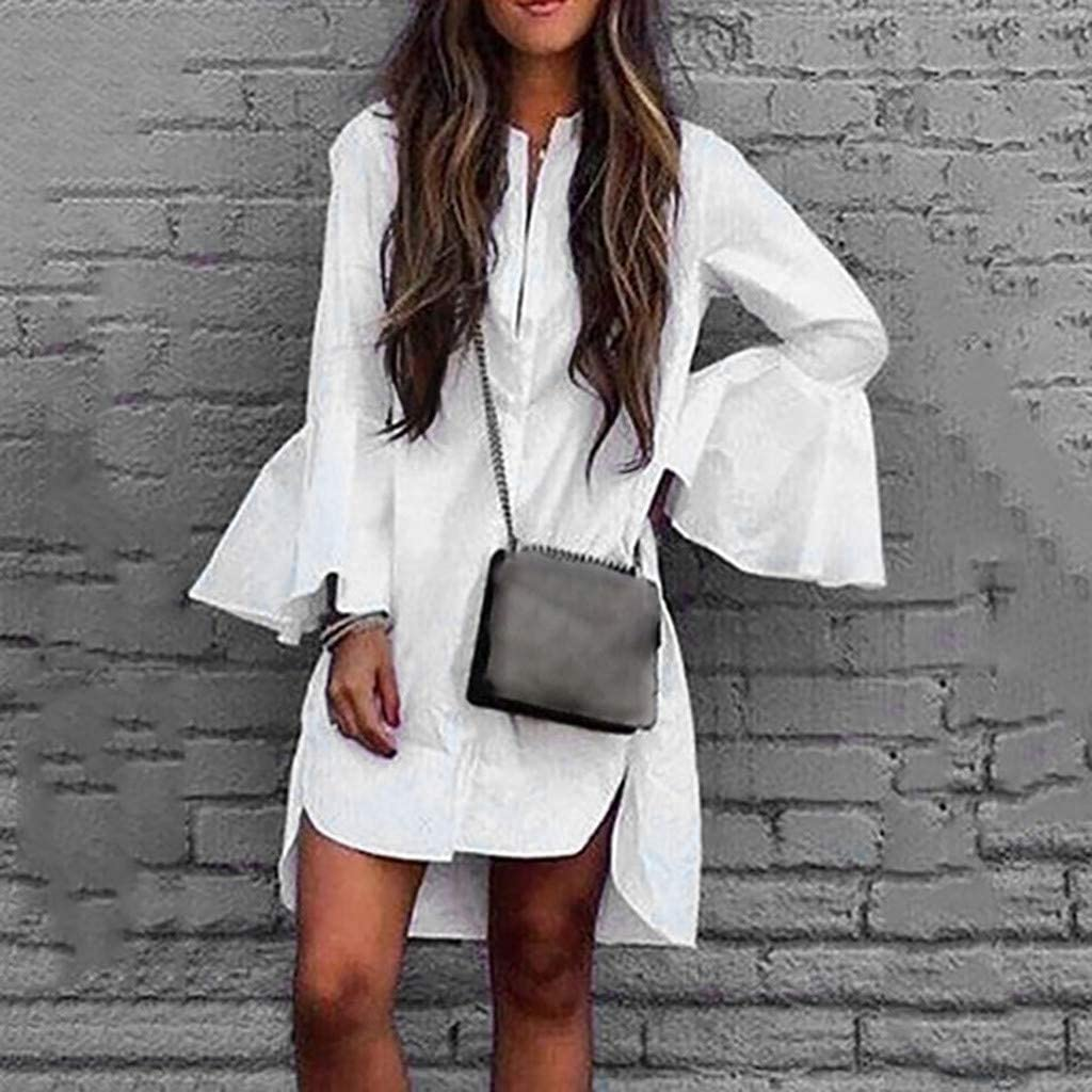 Overdose Vestido Casual De Mujer Vestido De Camisa Blanca Manga Acampanada Color Sólido Dobladillo Irregular Blusas Superiores Sexy Vestido Especial Falda De Fiesta Ropa De Mujer: Amazon.es: Ropa y accesorios
