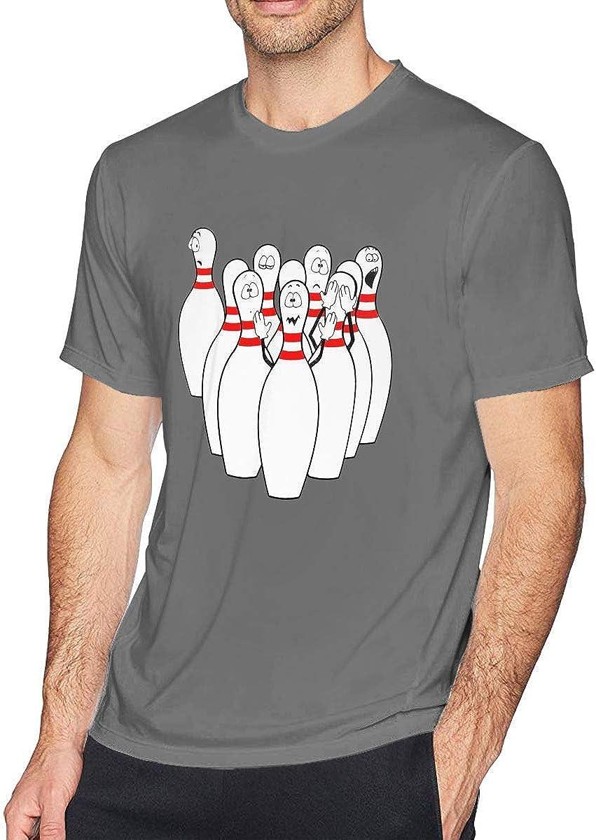 Camiseta de Manga Corta con Cuello Redondo, para Hombres, de Bowling, para Hombres,L: Amazon.es: Ropa y accesorios
