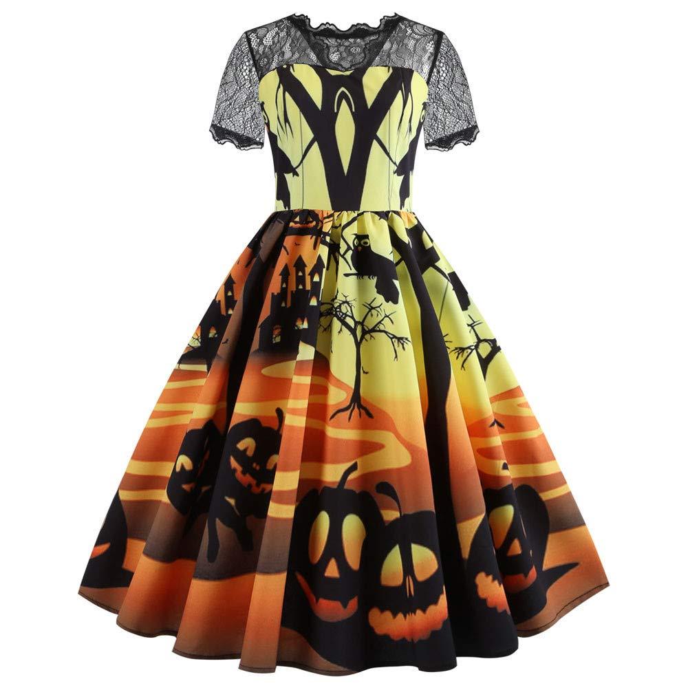 Halloween dresses for women, Pervobs Women Retro Halloween Printed Swing Dress Lace Short Sleeve Evening Party Dress(2XL, Yellow)