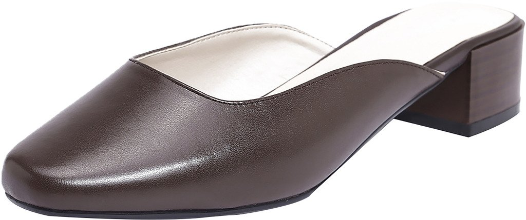 Calaier Mujer Caloudly Bloquear 4CM Cuero Ponerse Zuecos Zapatos 34|Marrón