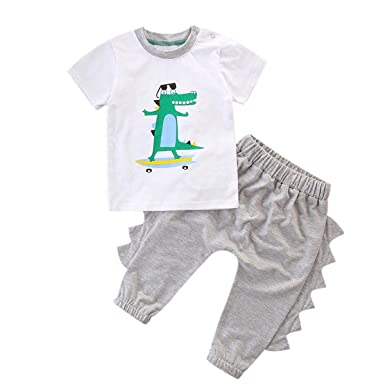 2pcs Baby Boys Stand Crocodile Suits Solid T-Shirt Croc