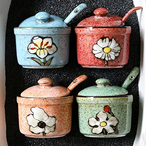 Ceramics Retro Flower Sugar Bowl with Lid and Spoon 5.5 Ounces Blue by dodola (Image #4)