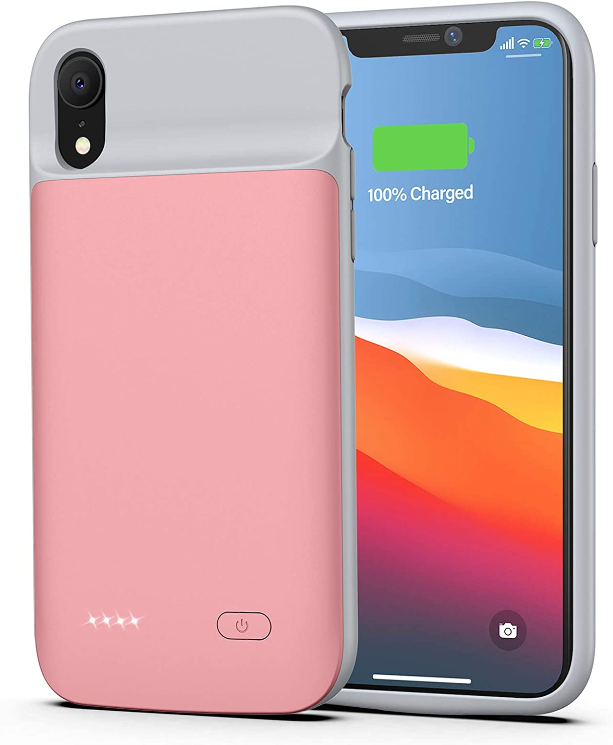 Battery case for iPhone XR, 5000mAh Portable Charging Case Rechargeable Protective Charger Case for iPhone XR (Rose Gold)