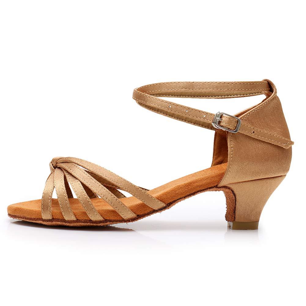 DKZSYIM Women's Satin Latin Dance Shoes
