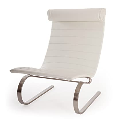 MLF Poul Kjaerholm PK20 Style Cantilever Lounge Modern Chair, Top Grain  White Aniline Leather