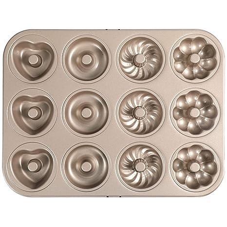 12 Incluso cuatro moldes de rosquilla de flores, acero al ...