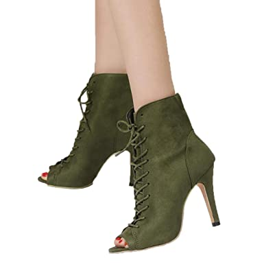 e56ad46006 Women's Heels OverDose Peep Toe High Heels Lace-Up Ankle Boot(EU 35,. Roll  over ...