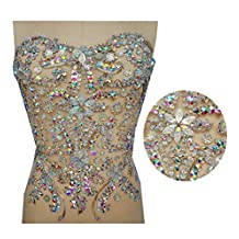 mesh handmade crystal patches sew on trim Rhinestones applique with stones sequins beads 32x32cm (AB Colour)