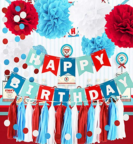 Qian's Party Dr Seuss Cat in The Hat Birthday Party Decorations/Dr Suess Decor Thing 1 and Thing 2 Decorations Turquoise White Red Happy Birthday Banner Airplane Birthday Decorations -